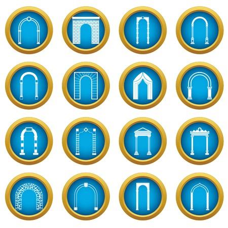 Icônes d'ensemble d'arc, cercle bleu