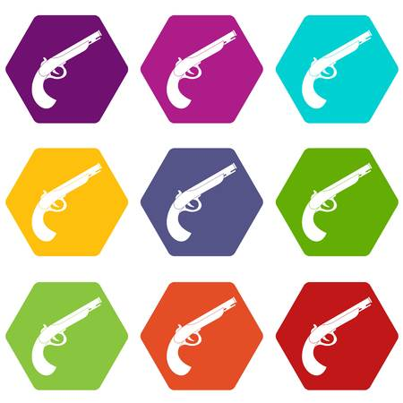 Gun icon set color, hexahedron Illustration