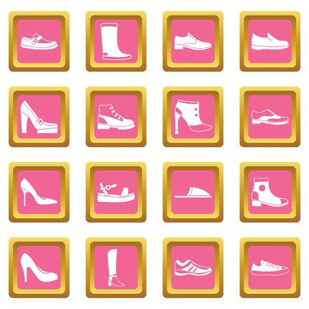loafer: Set of shoe icons in pink boxes