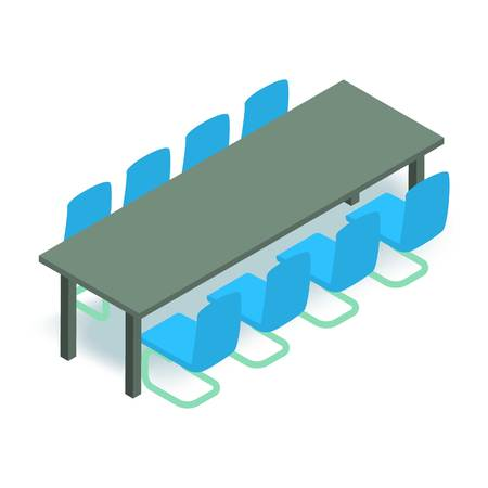 Meeting table icon. Isometric illustration of meeting table vector icon for web Illustration