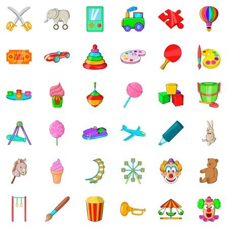 Conjunto de iconos de paraguas. Estilo de dibujos animados de 36 iconos de vector de paraguas para web aislado sobre fondo blanco Vectores