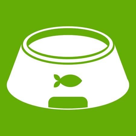 Bowl for animal icon white isolated on green background. Vector illustration