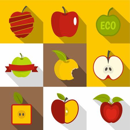 Apple label icons set. Flat set of 9 apple label vector icons for web with long shadow Illustration