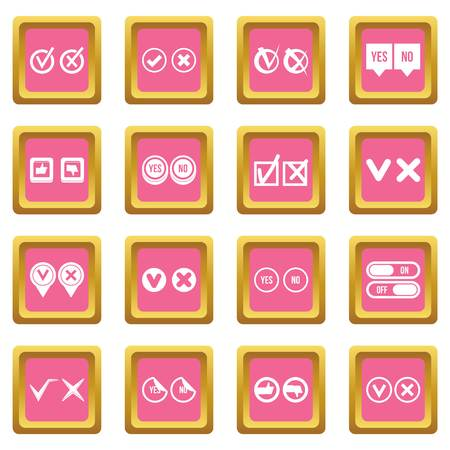 Check mark icons set in pink color isolated vector illustration for web and any design Illustration