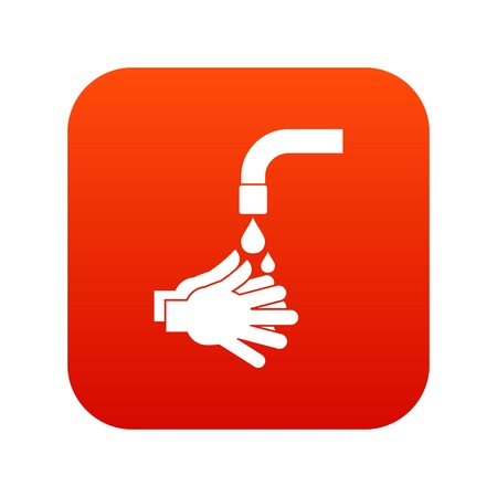 Cleaning hands icon digital red for any design isolated on white vector illustration