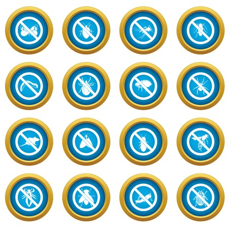 malaria: No insect sign icons blue circle set isolated on white for digital marketing Illustration