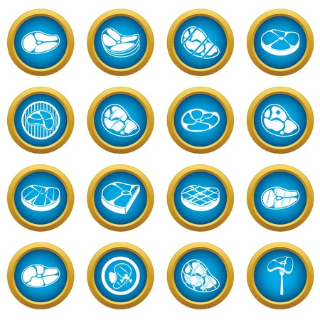Steak icons blue circle set isolated on white for digital marketing