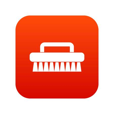 Cleaning brush icon digital red for any design isolated on white vector illustration Illustration