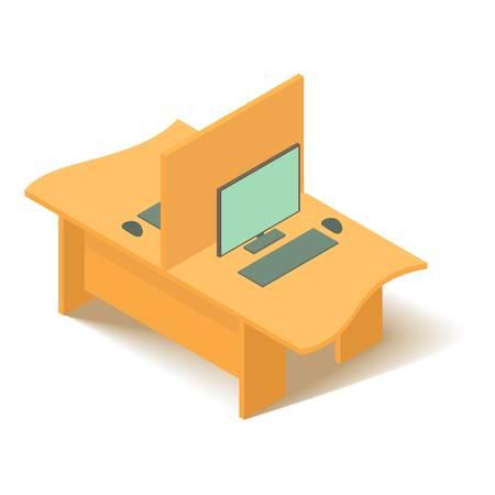 Geel computer tafel pictogram. Isometrische illustratie van het gele vectorpictogram van de computerlijst voor Web