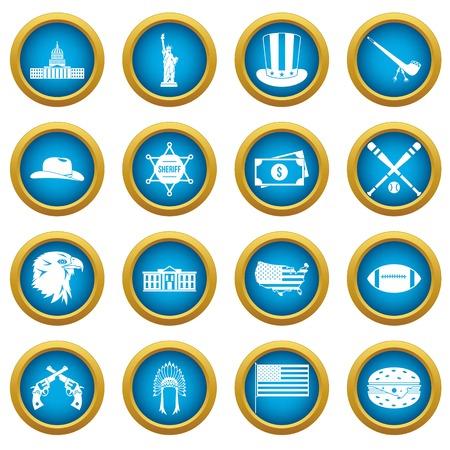 USA icons blue circle set isolated on white for digital marketing Illustration