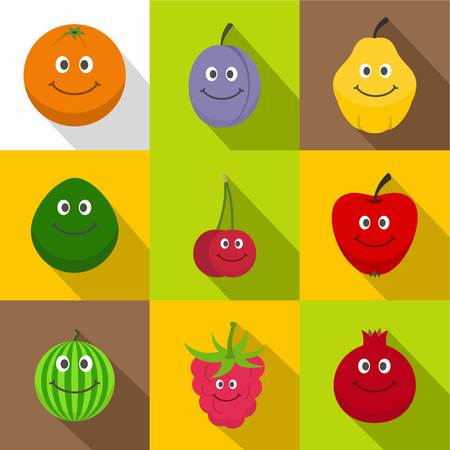 Funny fruits icons set. Flat set of 9 funny fruits vector icons for web with long shadow