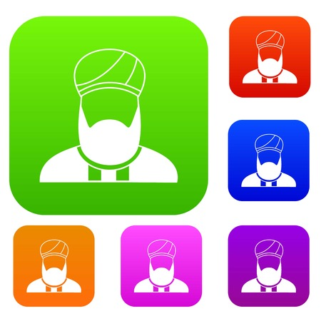 다른 색상 격리 된 벡터 일러스트 레이 션에 이슬람 목사의 아이콘을 설정합니다. 프리미엄 컬렉션 일러스트