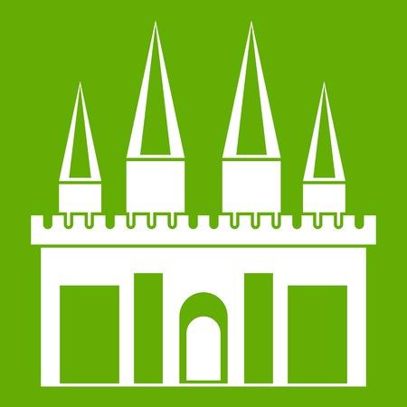 Kingdom palace icon white isolated on green background. Vector illustration Illustration