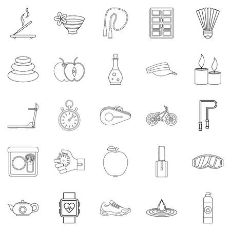 Well-being icons set. Outline set of 25 well-being vector icons for web isolated on white background Illustration