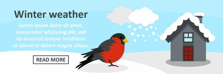 Winter weather banner horizontal concept. Flat illustration of winter weather banner horizontal vector concept for web Illustration