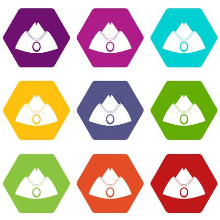 Forage cap icon set many color hexahedron isolated on white vector illustration