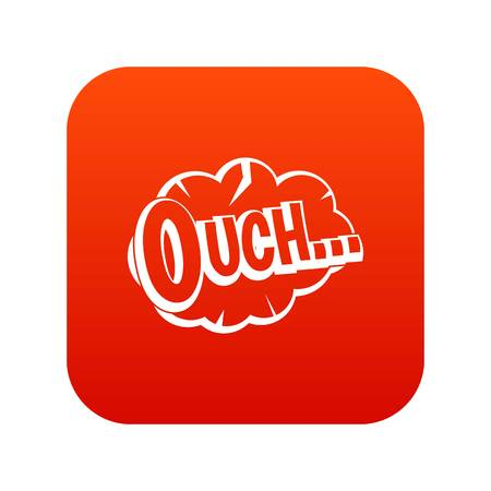 Ouch, speech cloud icon digital red for any design isolated on white vector illustration