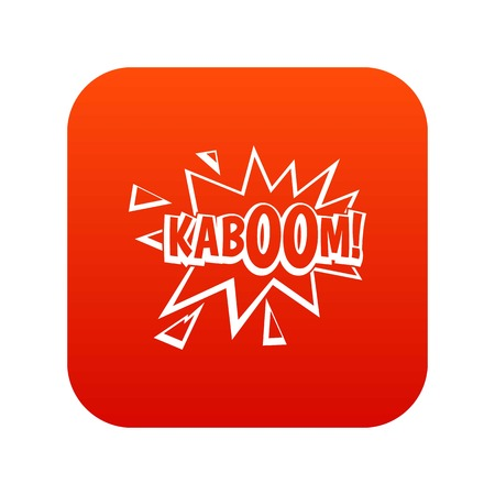 Kaboom, explosion icon digital red for any design isolated on white vector illustration Illustration