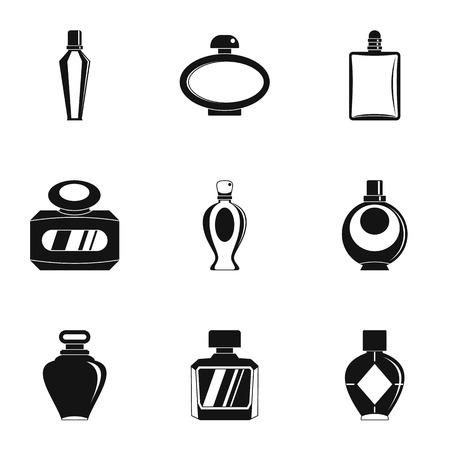 Set di icone di bottiglia di profumo. Un insieme semplice di 9 icone di vettore della bottiglia di profumo per il web isolato su fondo bianco