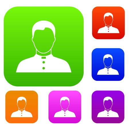 Pastor set icon in different colors isolated vector illustration. Premium collection