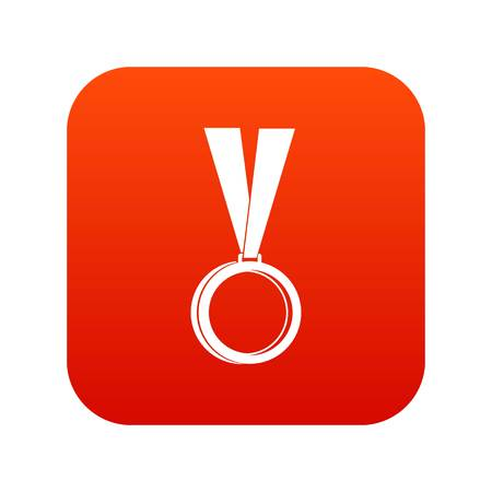 Medal icon digital red for any design isolated on white vector illustration