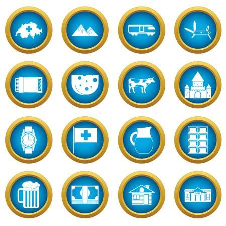 Switzerland icons blue circle set isolated on white for digital marketing Illustration