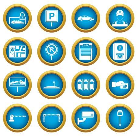 Insieme blu del cerchio delle icone di parcheggio dell'automobile isolato su bianco per l'introduzione sul mercato digitale Vettoriali
