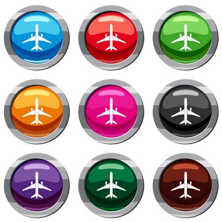 Plane set icon isolated on white. 9 icon collection vector illustration Фото со стока - 84478119