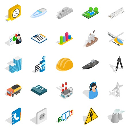 techology: Engineering icons set. Isometric set of 25 engineering vector icons for web isolated on white background
