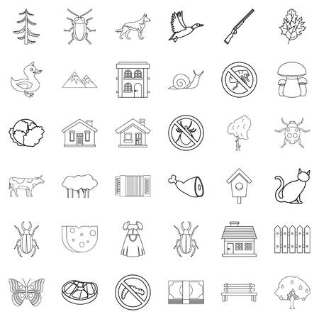 grille: Farming icons set. Outline style of 36 farming vector icons for web isolated on white background Illustration