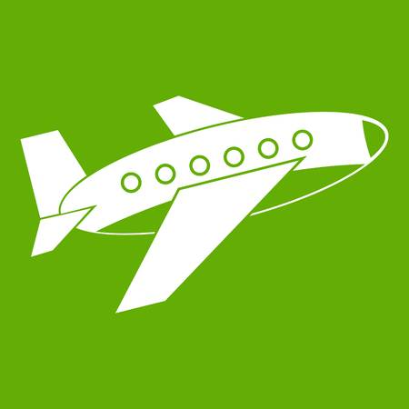 Airplane icon white isolated on green background. Vector illustration