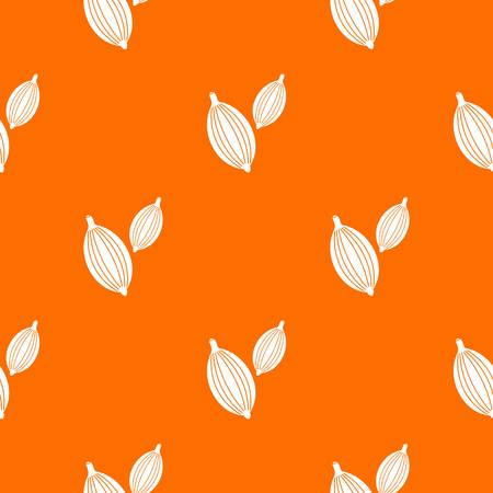 Cardamom pods pattern repeat seamless in orange color for any design. Vector geometric illustration