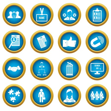 Human resource management icons blue circle set isolated on white for digital marketing