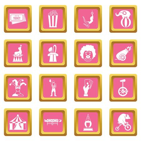 Set of circus entertainment icons in pink squares Illustration