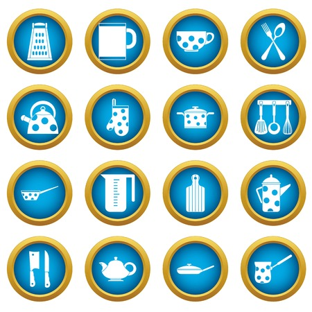 Set of kitchen tools and utensils icons in blue circles