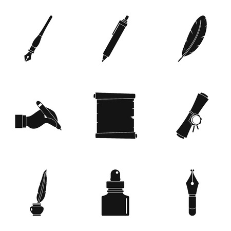 Pen and ink set isolated Illustration