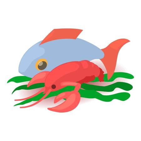 Cartoon illustration of sea food