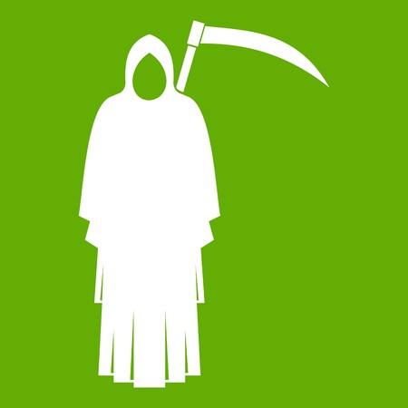 Death with scythe icon green background, vector illustration.