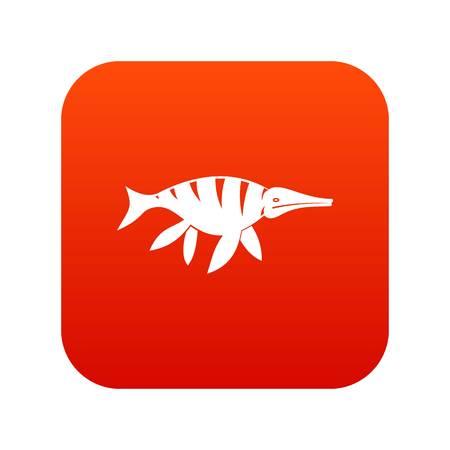 Aquatic dinosaur icon digital red vector illustration.