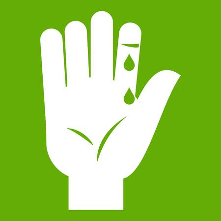 Finger with blood dripping icon green vector illustration.
