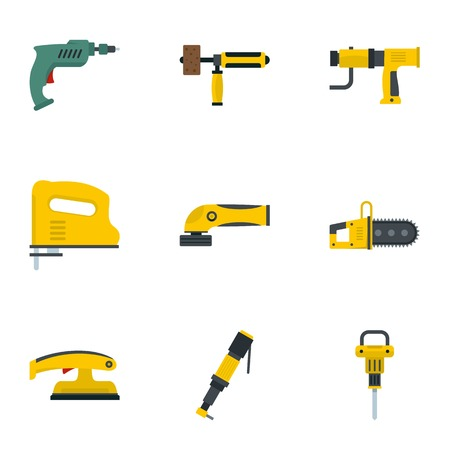 Flat set of various power tools vector icons for web isolated on white background Illustration