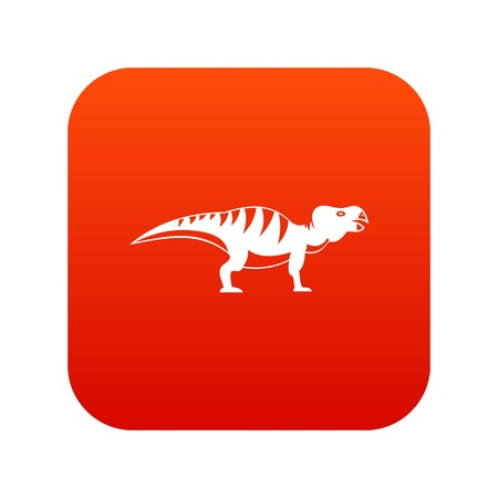 Hadrosaurid dinosaur digital icon in red