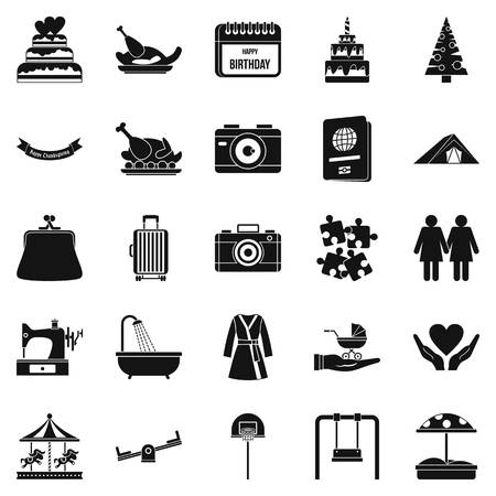 supper: Supper icons set, simple style