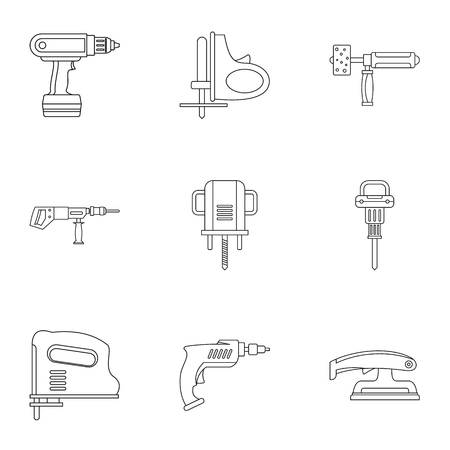 House electric tool icon set, outline style Illustration