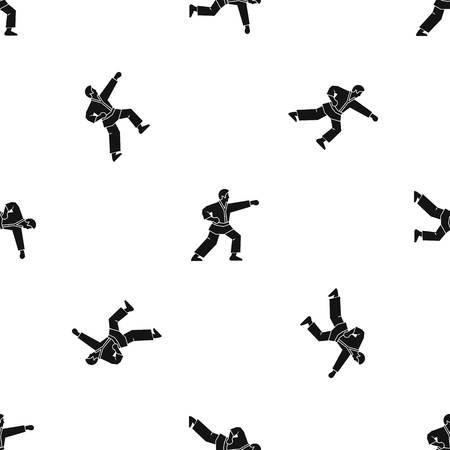 Aikido fighter pattern seamless black