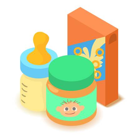 Baby food icon, cartoon isometric 3d style
