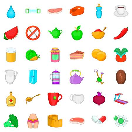 Diet icons set, cartoon style