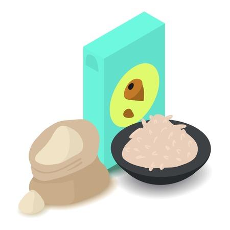 Nut flour icon, cartoon isometric 3d style