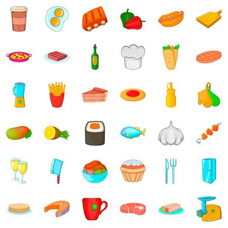 meat grinder: Chef cooker icons set, cartoon style Illustration