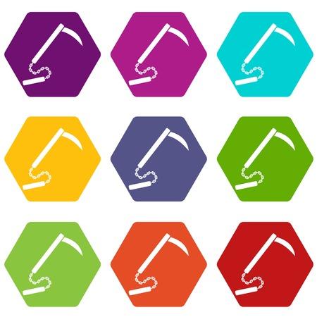 Kusarigama icon set color hexahedron Illustration